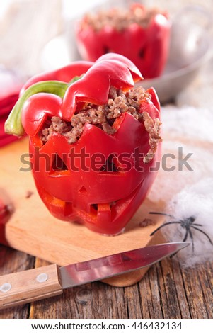 red pepper stuffed for halloween
