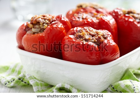 red peppers stuffed with meat and bulgur - stock photo