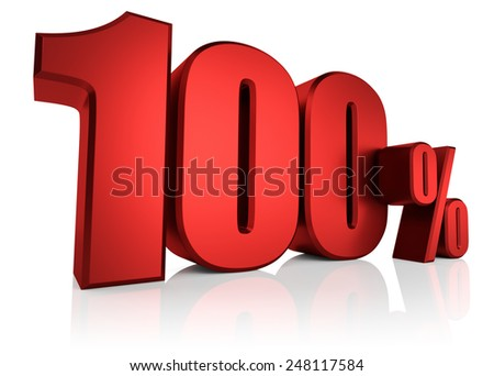 Red 100 percent on white background. 3d render discount - stock photo