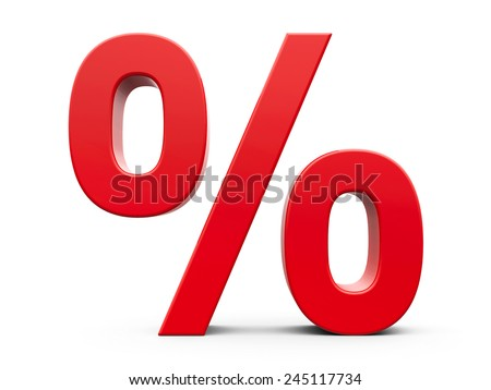 Red percent sign isolated on white background, three-dimensional rendering - stock photo