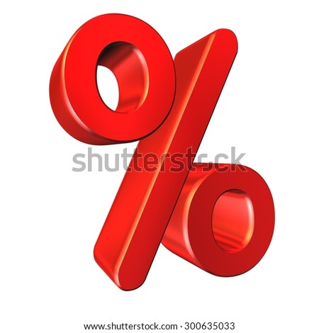 Red percent sign isolated on white background, three-dimensional rendering.