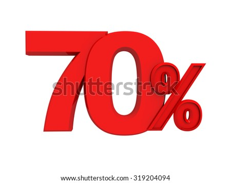 Red percent sign isolated on white background, three-dimensional rendering