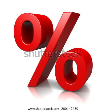 Red Percent Sign on White Background 3D Illustration - stock photo