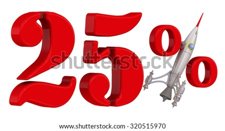 Red 25 percent with rocket. Isolated on white background. The concept of the rapid growth of interest
