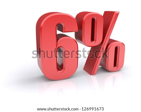Red 6% percentage rate icon on a white background. 3d rendered image