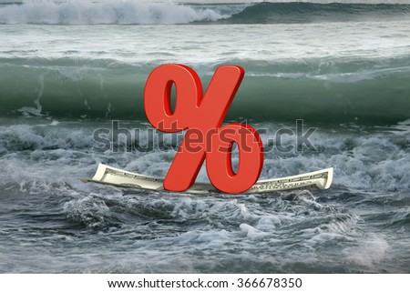 Red percentage sign on money boat floating in the ocean with oncoming wave  - stock photo