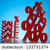 Red percentage symbol - stock photo