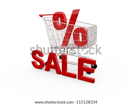 Red percentage symbol, sale text and shopping cart, isolated on white background. - stock photo