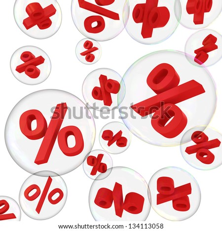 Red percentage symbols in soap bubbles on the white background - stock photo