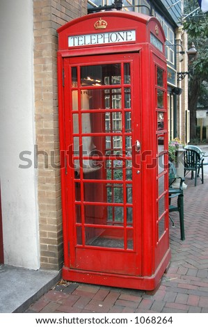 Red phone booth - stock photo