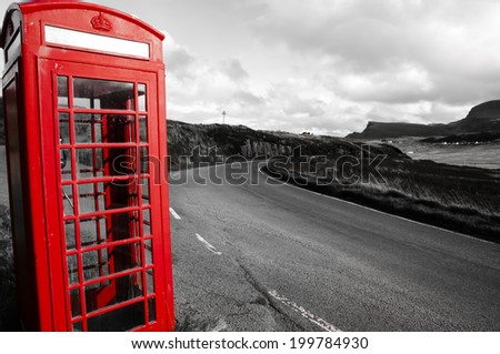 Red Phone Booth - Highland - Scotland - stock photo