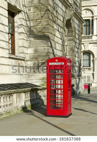 Red phone box in London. - stock photo