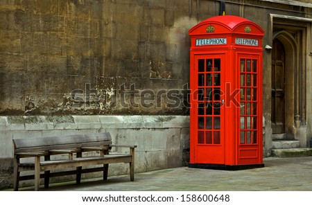 Red phone box in London, United Kingdom, - stock photo