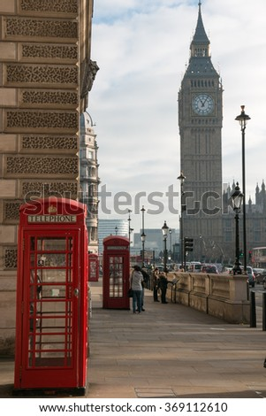 Red phone box with Big Ben in background