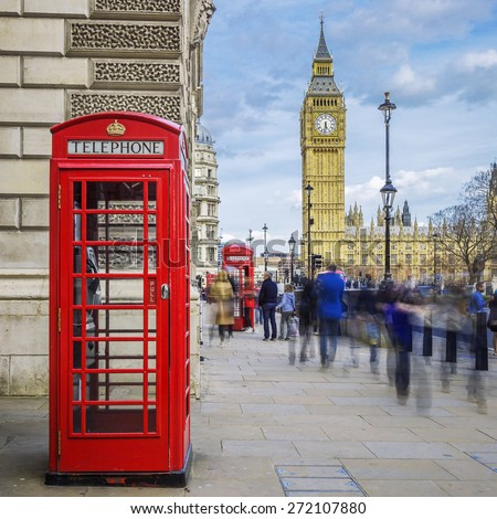 Red phone box with Big Ben on background, London.