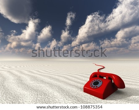 Red Phone in White Empty Landscape - stock photo