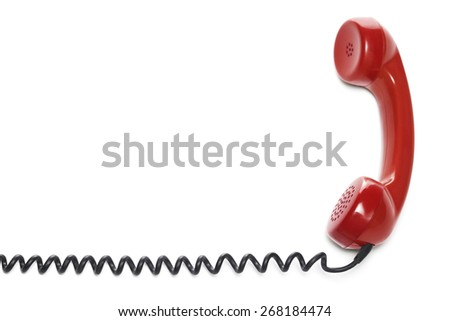 Red phone isolated on white  - stock photo
