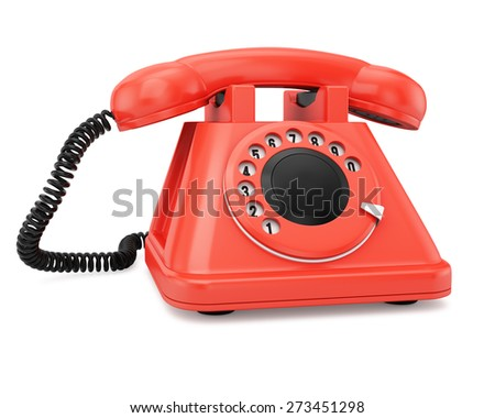 Red phone isolated on white background.
