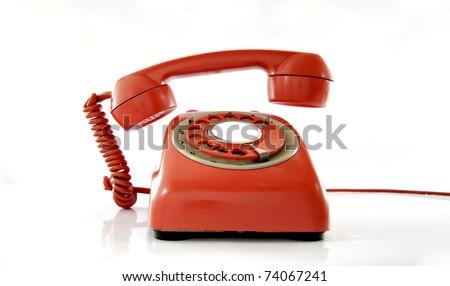 red phone ringing - stock photo