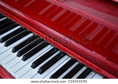 Red Piano Keyboard - stock photo