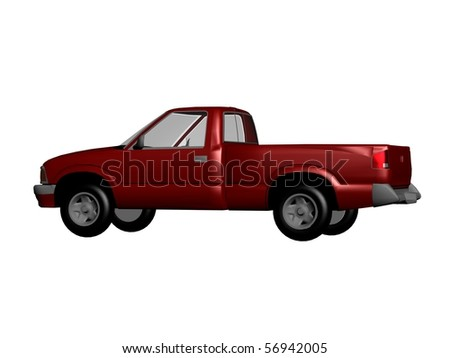 red pickup car isolated - stock photo