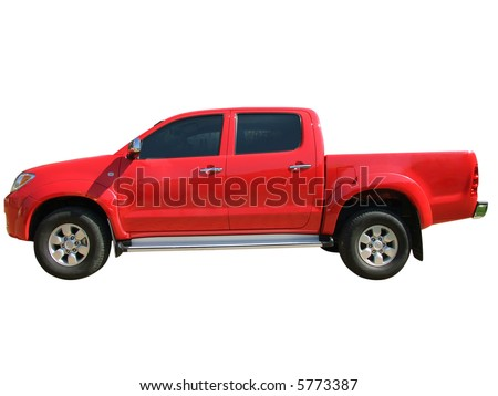 red pickup truck isolated - stock photo