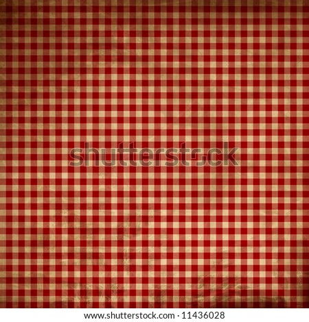 Red picnic fabric with straight lines - stock photo
