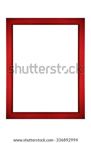 Red picture frame isolated on white - stock photo