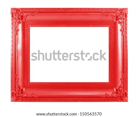 Red picture frame. Isolated on white background - stock photo