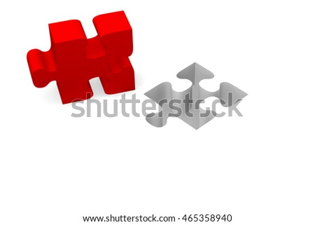 Red piece of puzzle on a white background, 3d rendering