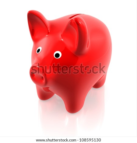 Red piggy bank - stock photo