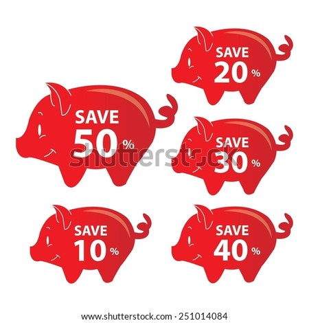 Red Piggy Bank Set For Save With 10, 20, 30, 40, 50 Percent OFF Discount Campaign Isolated on White Background. - stock photo