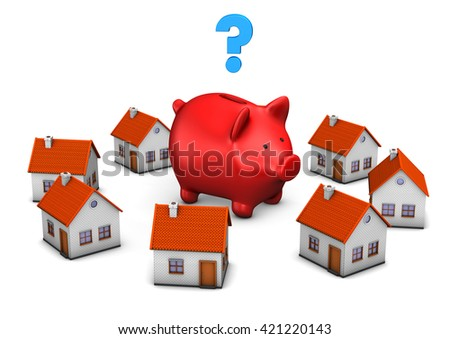 Red piggy bank with house buildings und blue question mark on the white. 3d illustration.