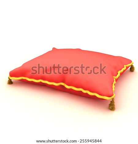 red pillow on white background - stock photo