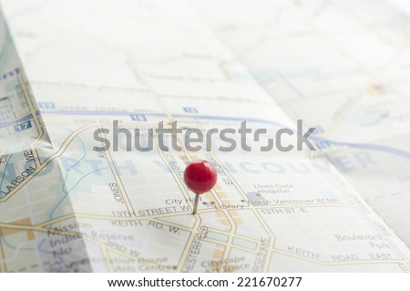 Red pin on the map