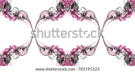 Red, pink and green abstract twisted smoke isolated on white background, formed in circles and rosettes, pattern is in endless loop