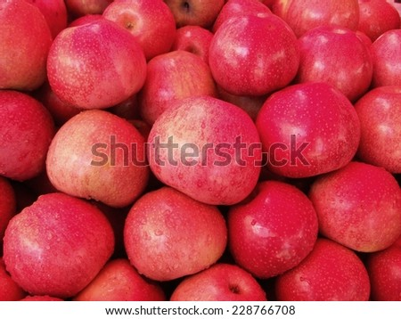 Red-pink apple at local market in Tak province, Thailand