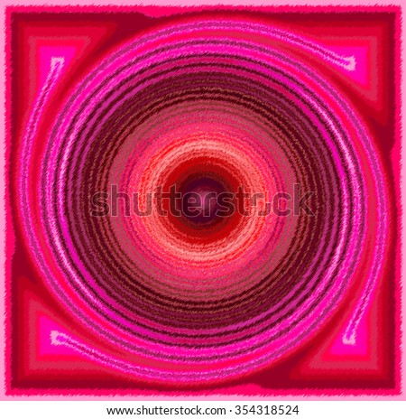 Red pink brown psychedelic spiral fractal pattern background - stock photo