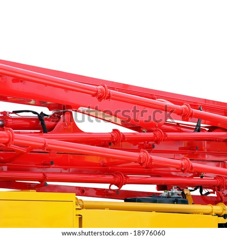 Red pipes with pump for construction industry