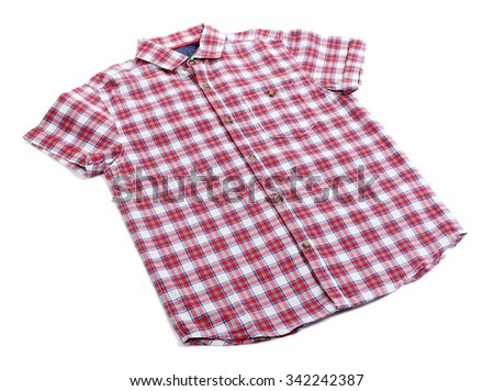 Red plaid shirt isolated on white background