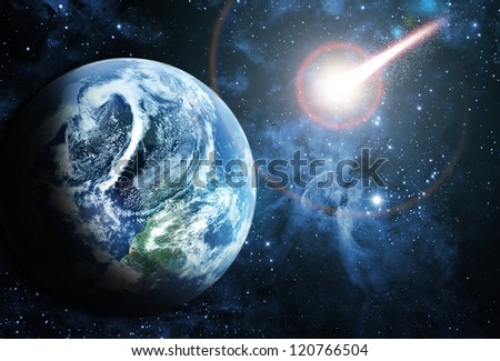 red planet in beautiful space - stock photo