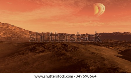 Red planet with arid landscape, rocky hills and mountains, and a Saturn-like moon, for space exploration and science fiction backgrounds - stock photo