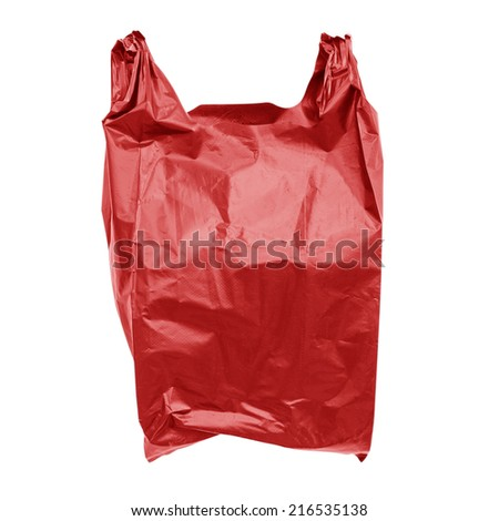 Red plastic bag isolated on white  - stock photo