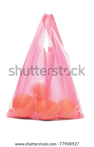 Red plastic bag of oranges on white background - stock photo
