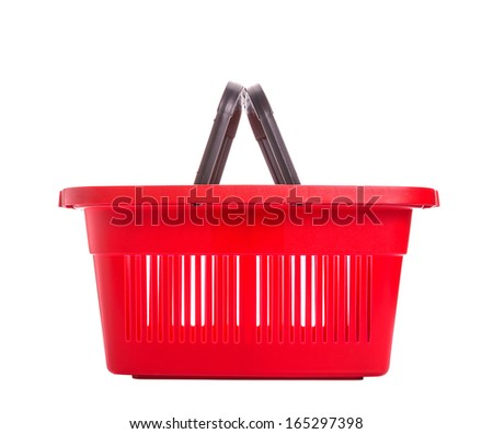 Red plastic basket for shopping. Isolated over white background. - stock photo