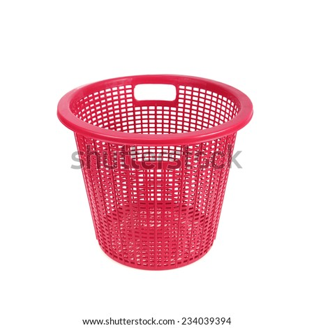 red plastic basket isolated on white background