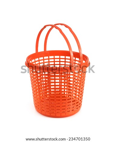 red plastic basket isolated on white background - stock photo