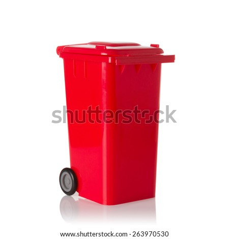 Red plastic bin isolated on white background. - stock photo