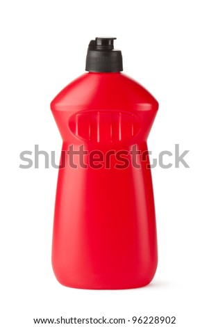 Red plastic bottle with cleaning liquid. Isolated on a white. - stock photo