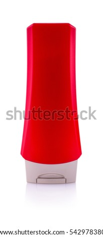 red plastic bottle with male shampoo carved on a white background